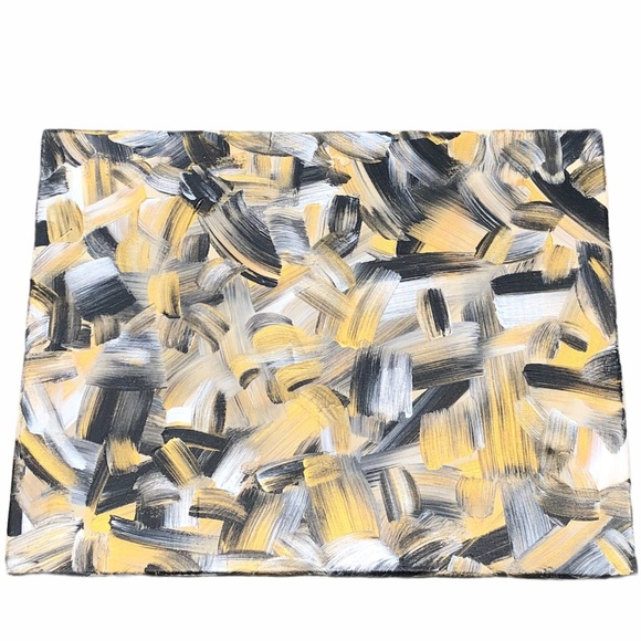 HANDCRAFTED BLACK/GOLD/SILVER/CREAM ABSTRACT ART